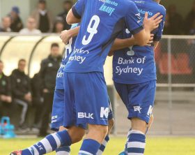 Nick Epifano celebrates his goal against Green Gully